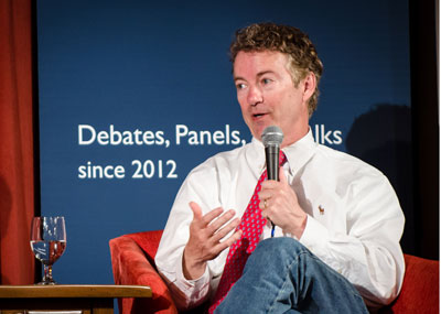 U.S. Sen. Rand Paul fields questions following his talk at International House. (Photos by Kevin Ho Nguyen)