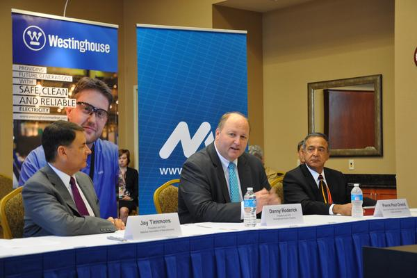 Jay Timmons, president and CEO of the NAM, Danny Roderick, president and CEO of Westinghouse Electric Co., and Pierre Paul Oneid, senior vice president and chief nuclear officer at Holtec International Corp. speak Friday at a roundtable discussion on the Export-Import Bank. - Justine Coyne