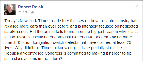 Reich on NYT and GM