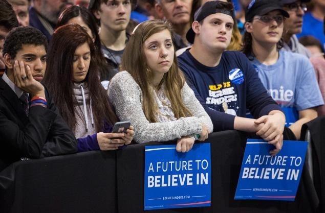 Sad Sanders supporters