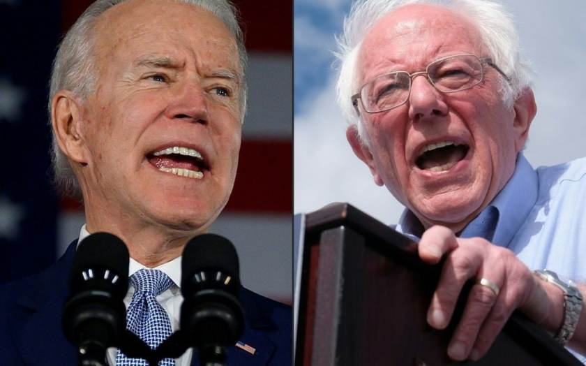 """Joe Biden said he would be a target of the """"Bernie Brothers"""" CREDIT: AFP"""